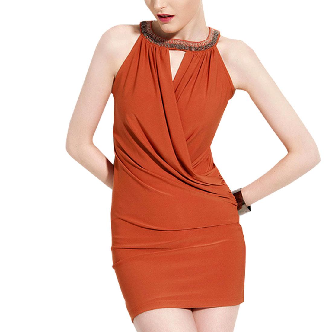 XS Round Neck Split Front Sleeveless Casual Mini Dress Dark Orange for Ladies