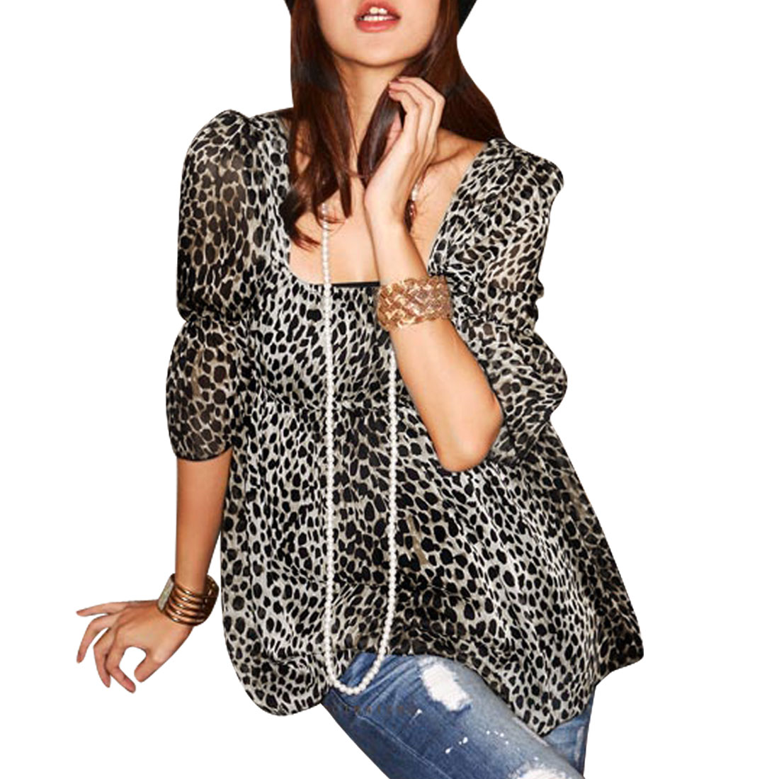 Ladies Leopard Pattern Elastic Waist Half Sleeve Blouse Shirt Black Xs
