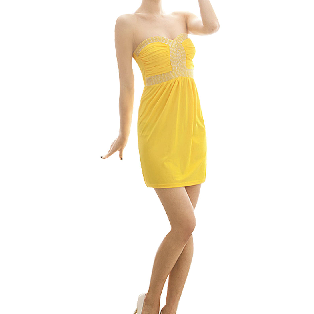 Ladies Strapless Metal Beads Decor Pullover Mini Dress Yellow Size XS