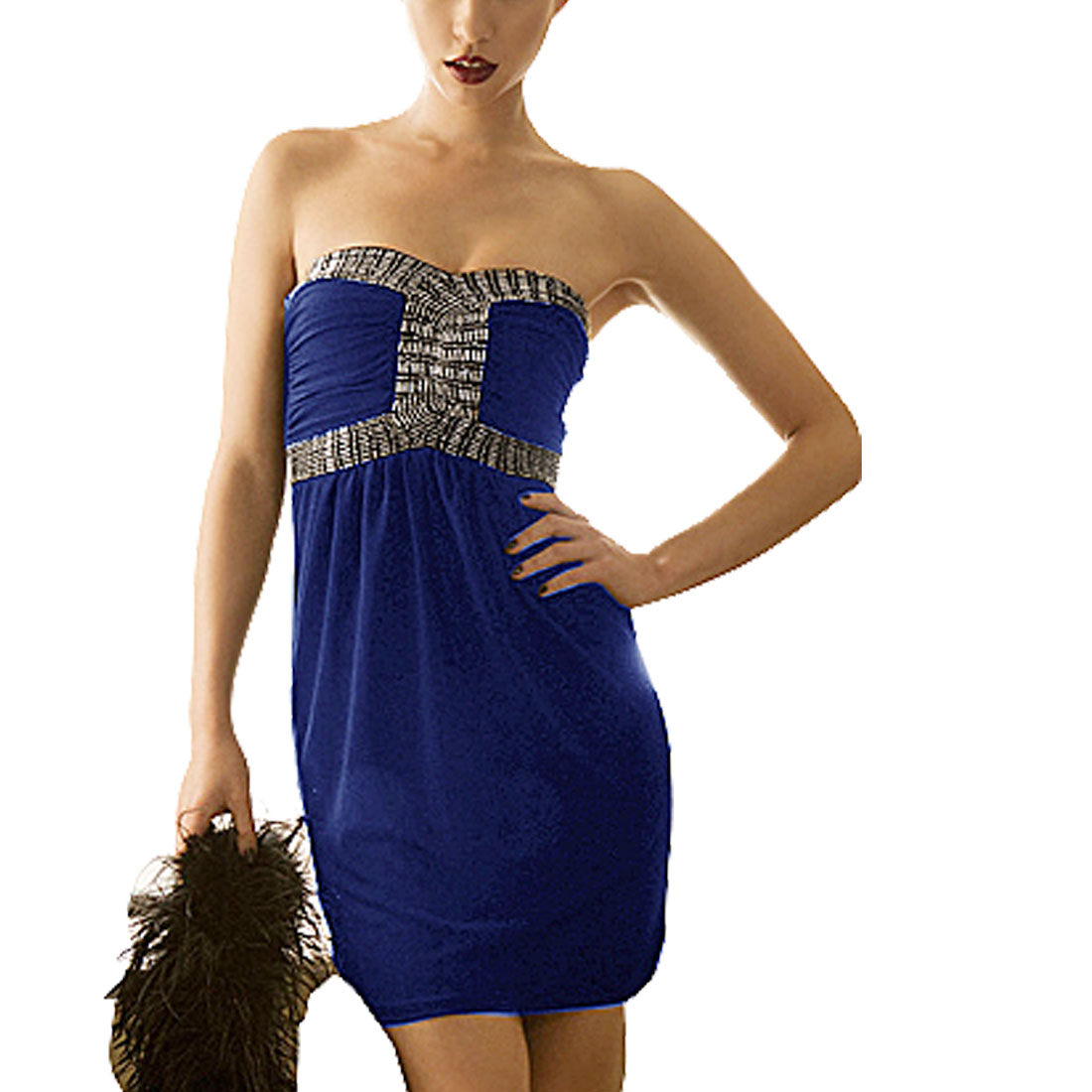 Ladies Strapless Metal Beads Decor Pullover Mini Dress Dark Blue Size XS