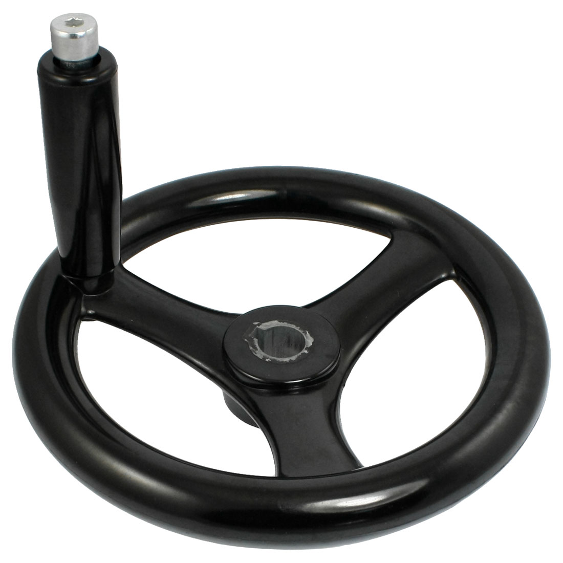 Black 17.5mm x 200mm 3 Spoke Hand Wheel w Revolving Handle