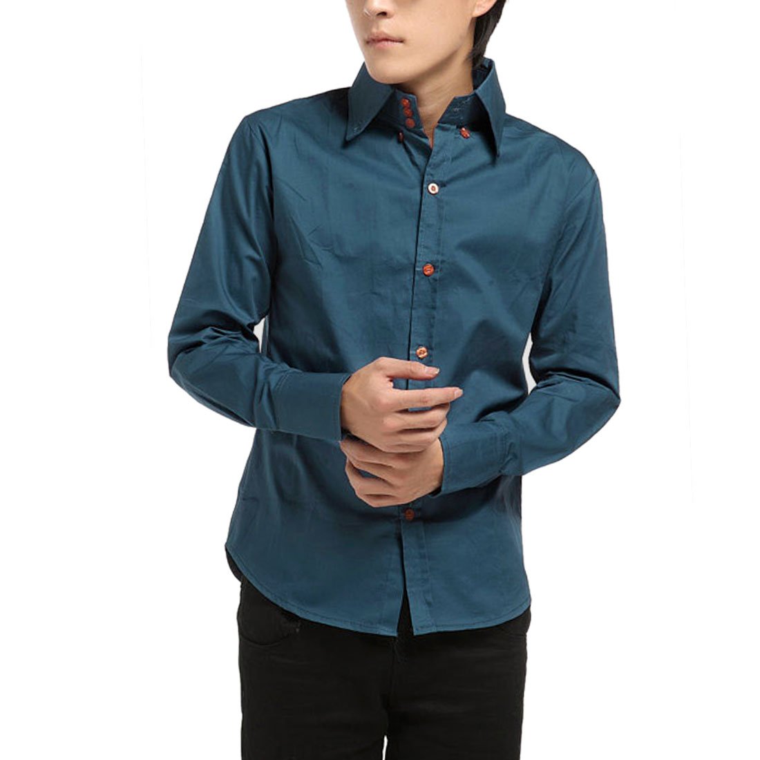 Casual Men Long Sleeve Button Up Point Collar Teal Blue Shirt Tops M