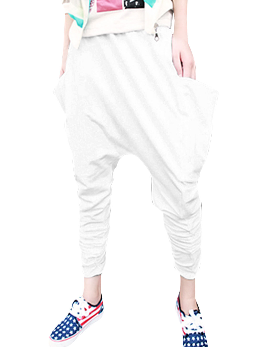 Mens Casual Elastic Wiast Low Rise Pure White Big Side Pocket Harem Pants W30