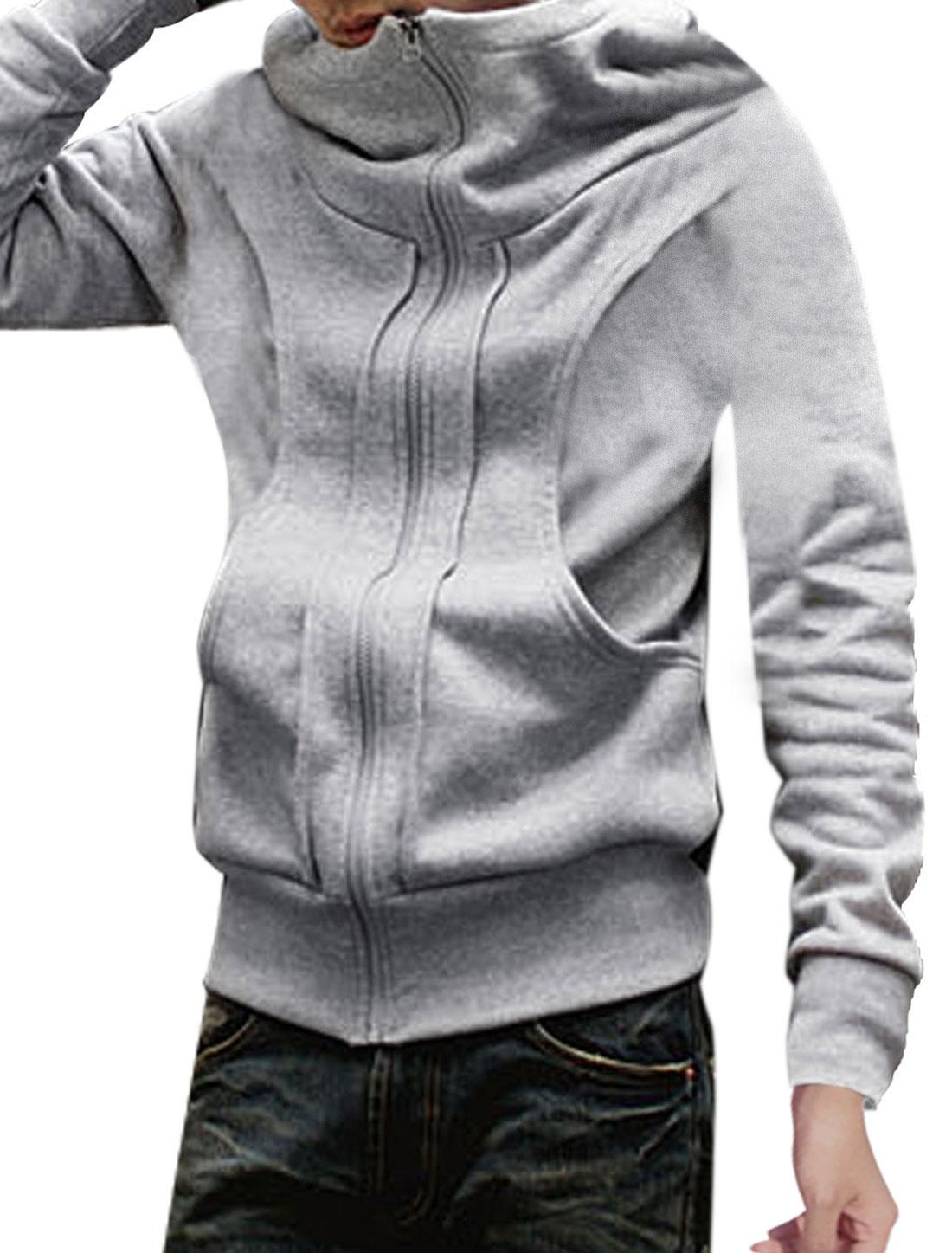 Mens Light Gray Side Pockets Ribbing Trim Casual Winter Hoodie M