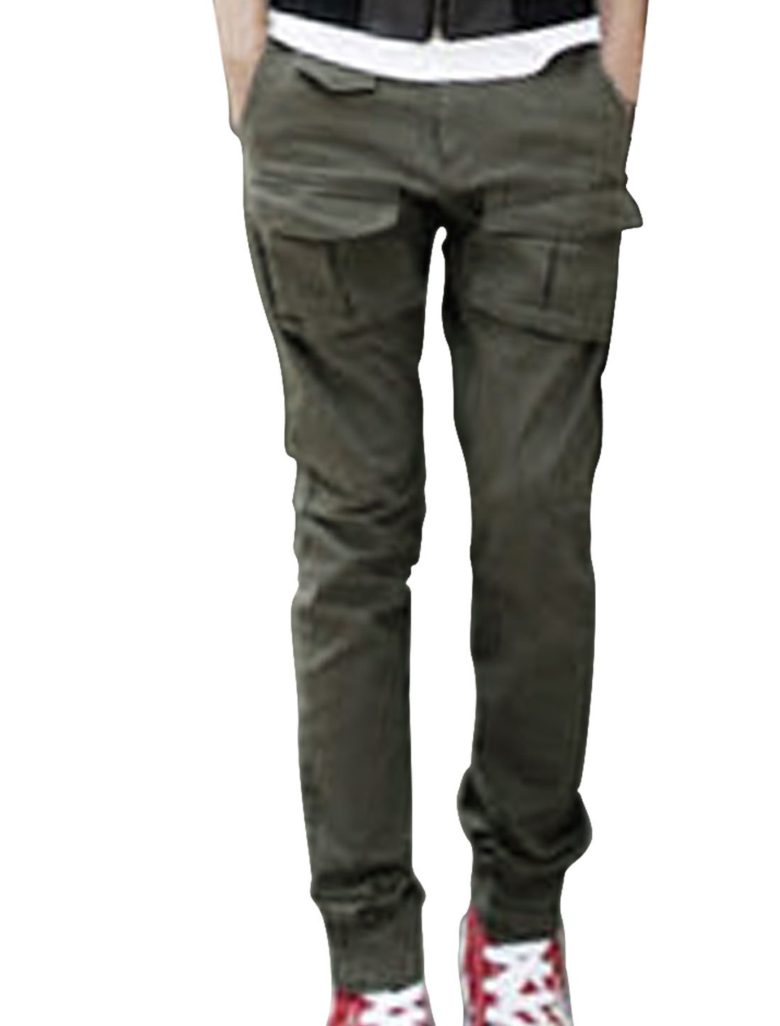 Mens Army Green Natural Waist Multi-Pockets Casual Cargo Pants W31
