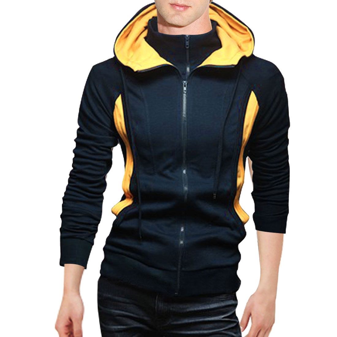 Men Dark Blue Long Sleeve Zipped Front Drawstring Detail Leisure Warm Hoody L