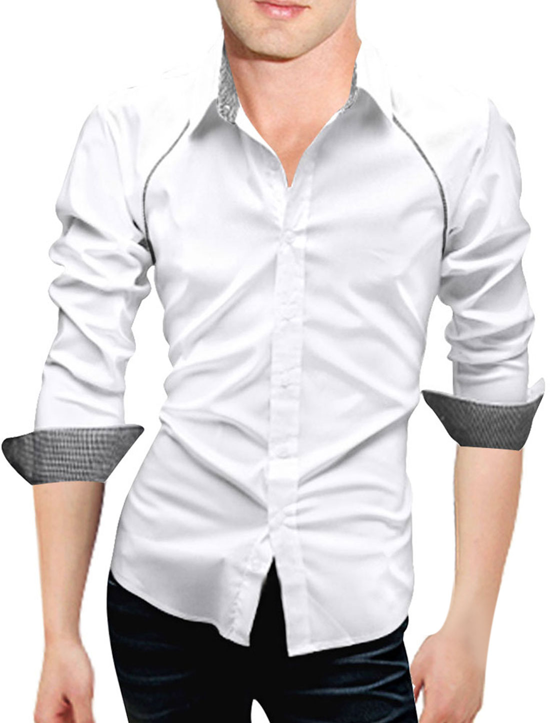 Men Fashion White Long Sleeve Single Breasted Buttoned Cuffs Leisure Shirt M