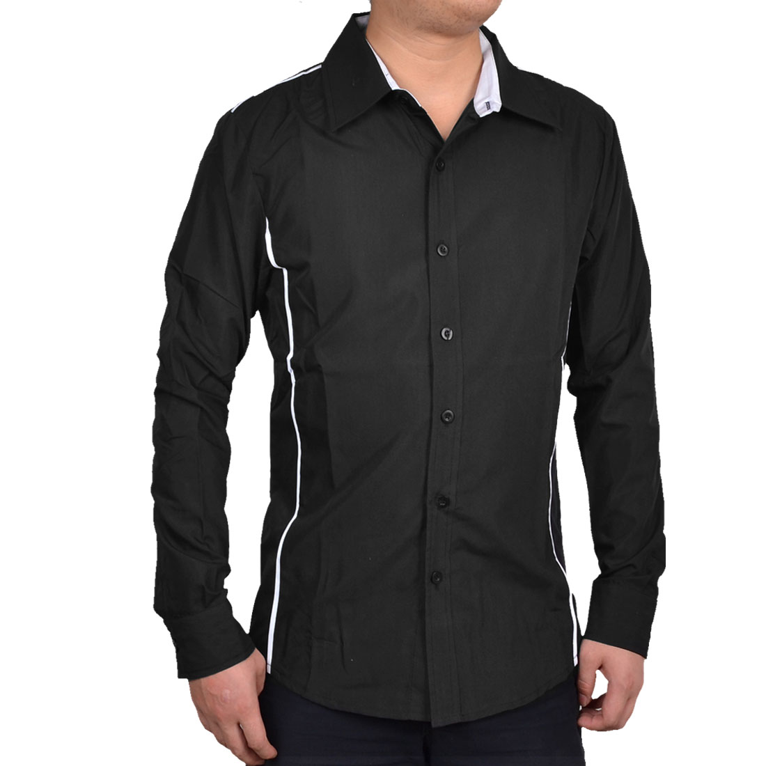 Men Black Stylish Button Closure Front Round Hem Piped Detail Casual Shirt M