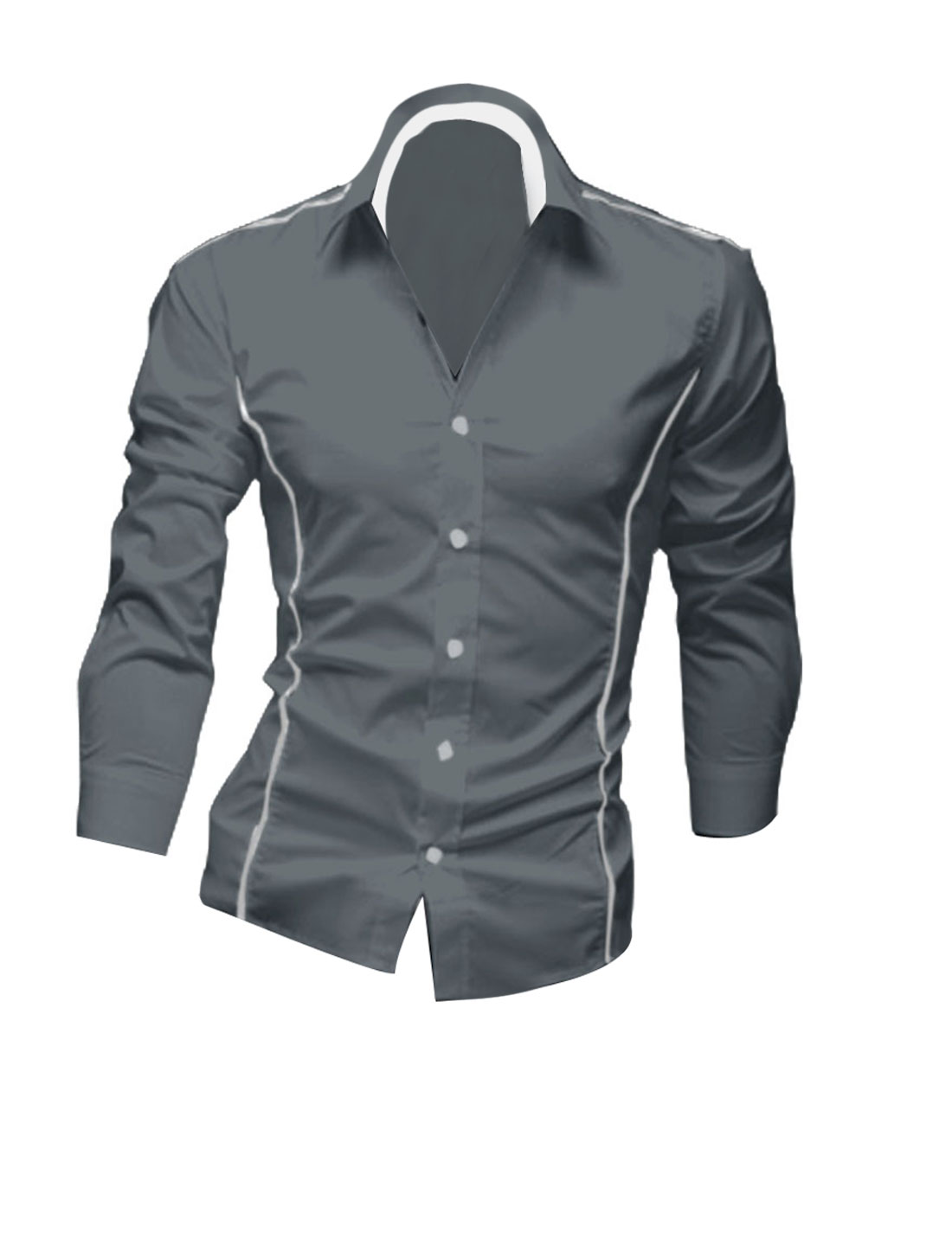 Men Stylish Gray Long Sleeve Point Collar Button Down Piped Detail Casual Shirt M