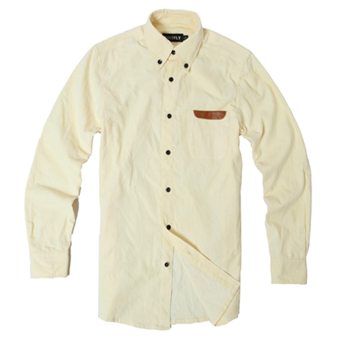 Men Light Yellow Long Sleeve Button Down Single Pocket Upper Buttoned Cuffs Shirt L
