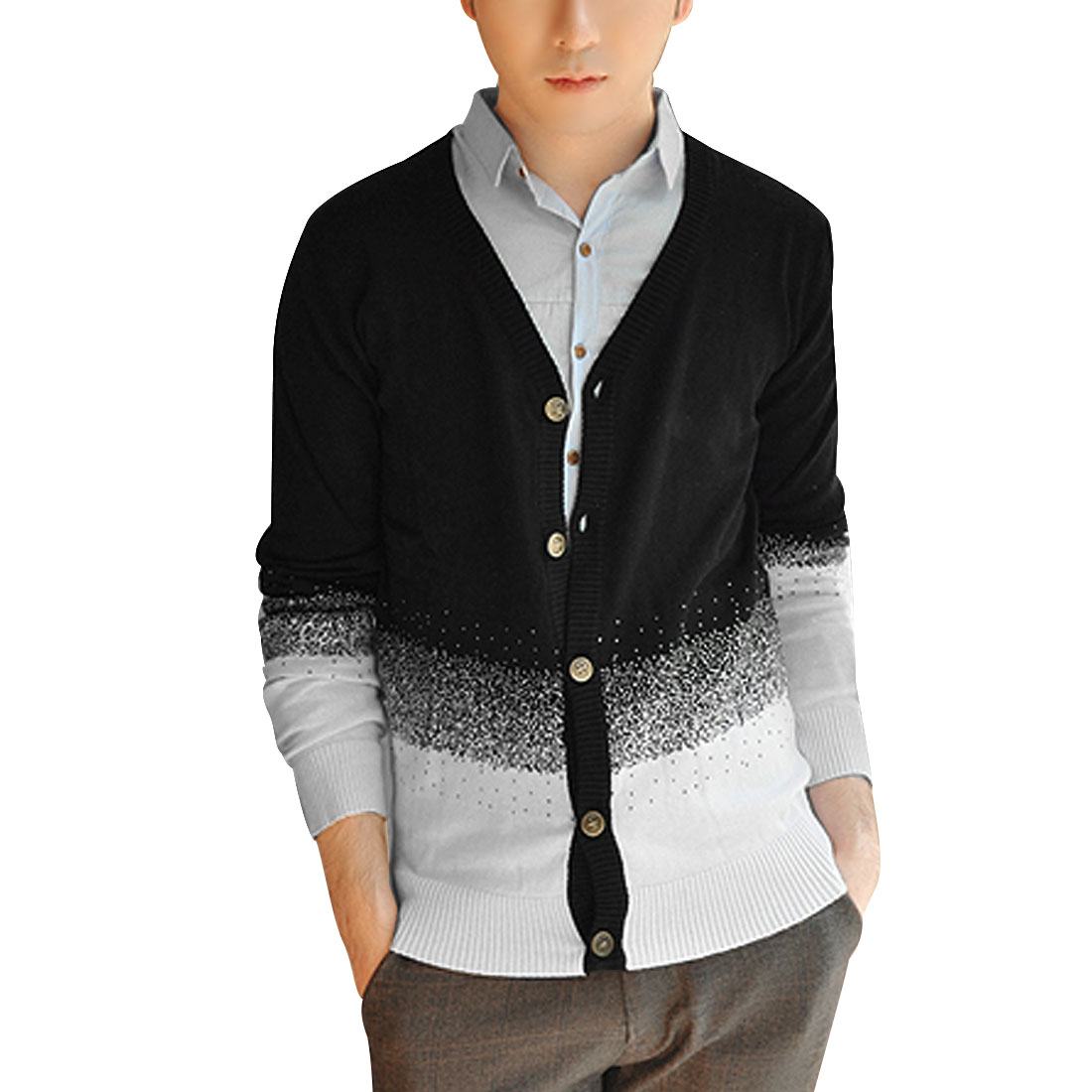 Mens Black White Fashion New Fashion Gradient Tone Details Knit Cardigan S