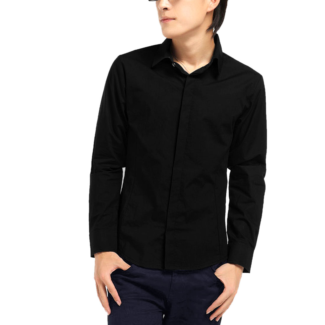 Newly Men Long Sleeve Point Collar Six Button Down Shirt Tops Black L
