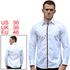 Mens Stylish White Point Collar Long Sleeve Button Closure Front Shirt S