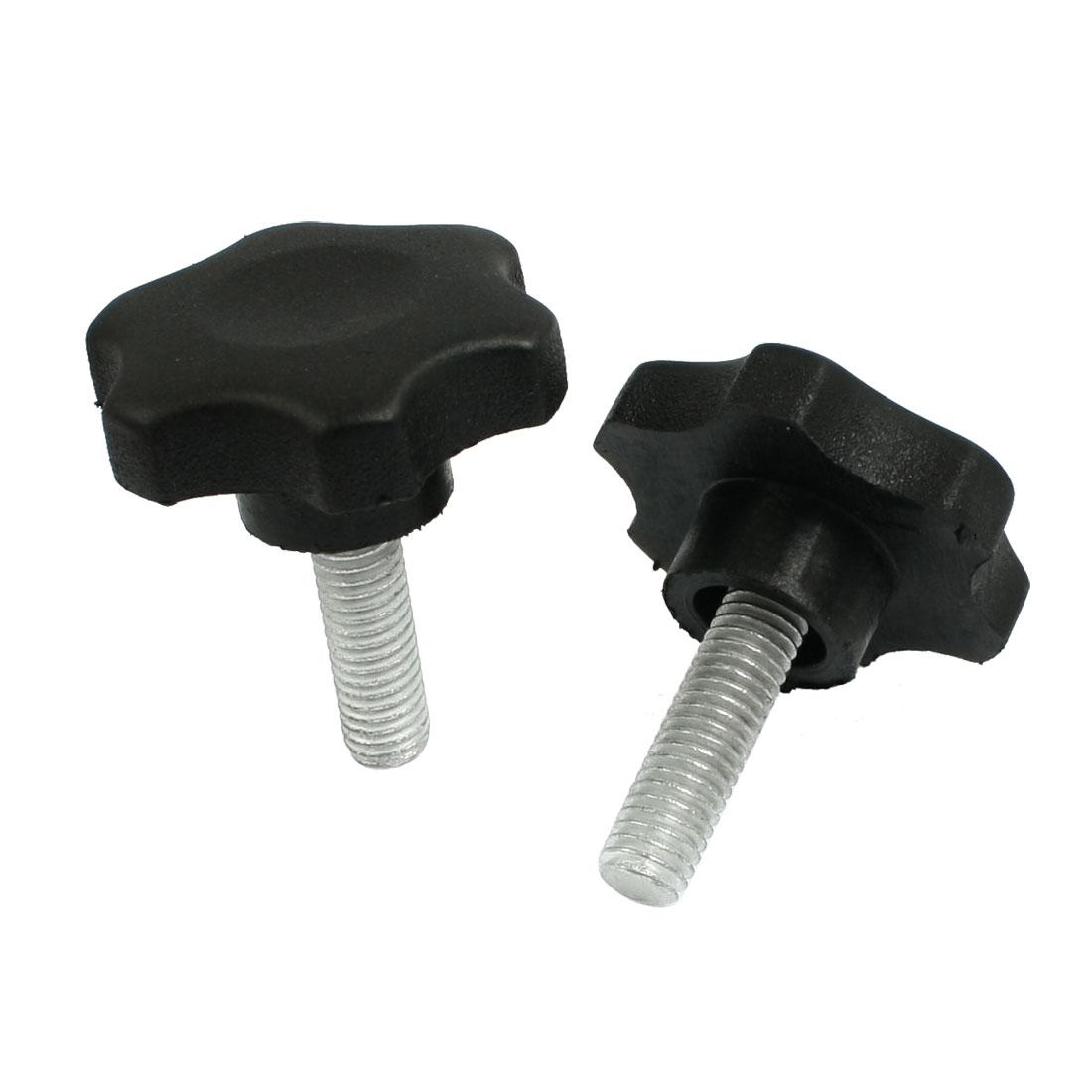 2 Pcs M8 x 20mm Male Thread 40mm Star Head Clamping Knob Black