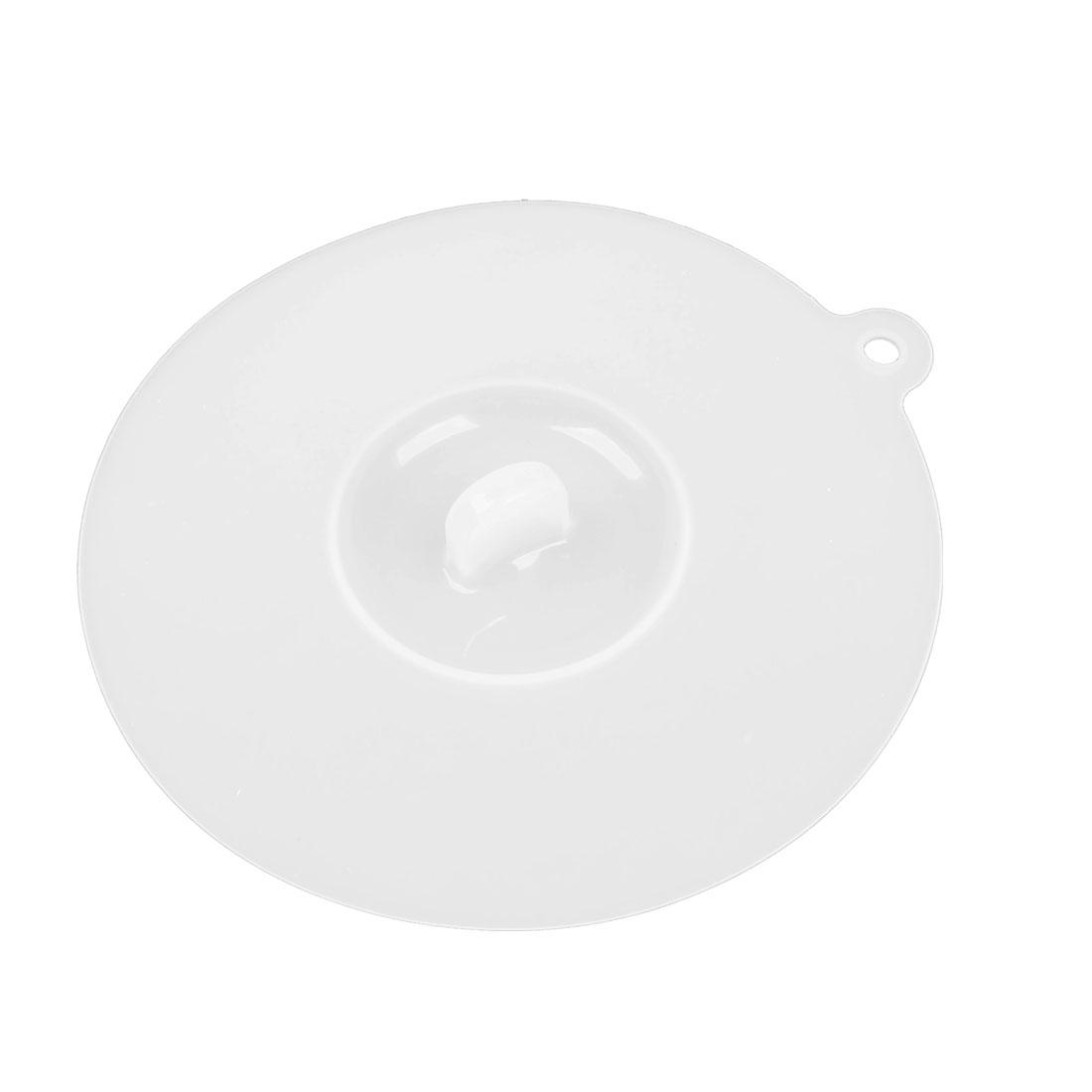 """12cm 4.7"""" Diameter Clear White Silicone Cup Cover Knob Airtight Cap Lid"""