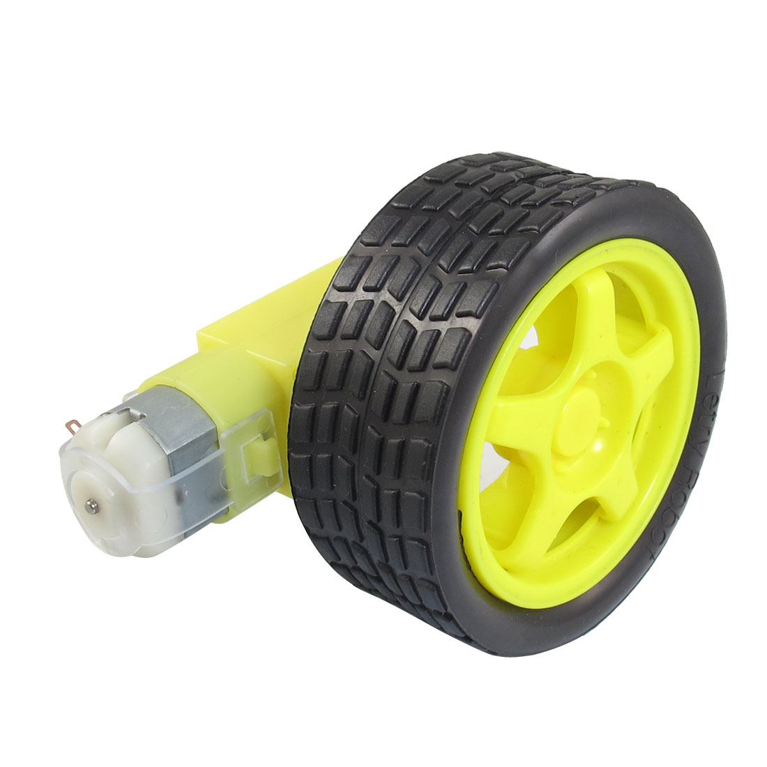 Yellow Black Tire Wheel + Single Shaft Geared Motor 15RPM 160mA 3V DC