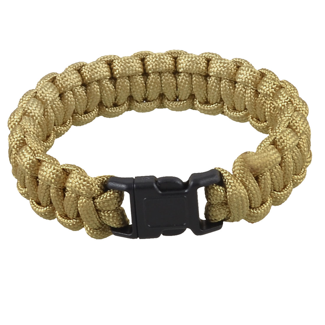 Camping Hiking Plastic Whistle Buckle Survival Bracelet Khaki 220Lbs