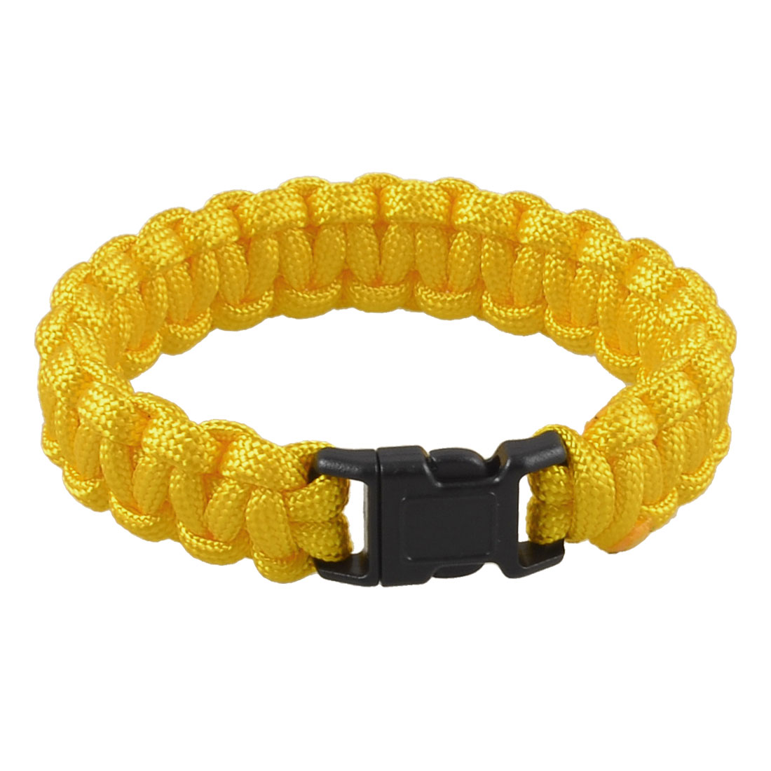 "9"" Girth Plastic Side Release Buckle Para Cord Rescue Survival Bracelet Yellow"