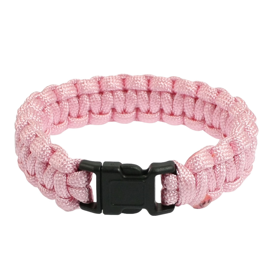 Plastic Whistle Buckle Pink Nylon Rescue Survival Bracelet 220Lbs