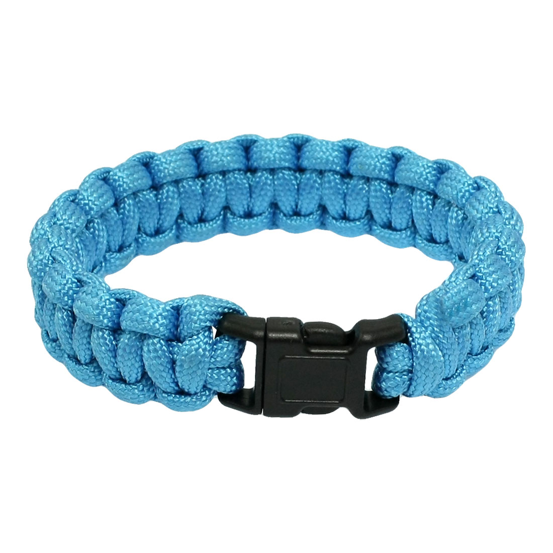 Outdoor Plastic Side Release Buckle Survival Bracelet Cyan 220Lbs