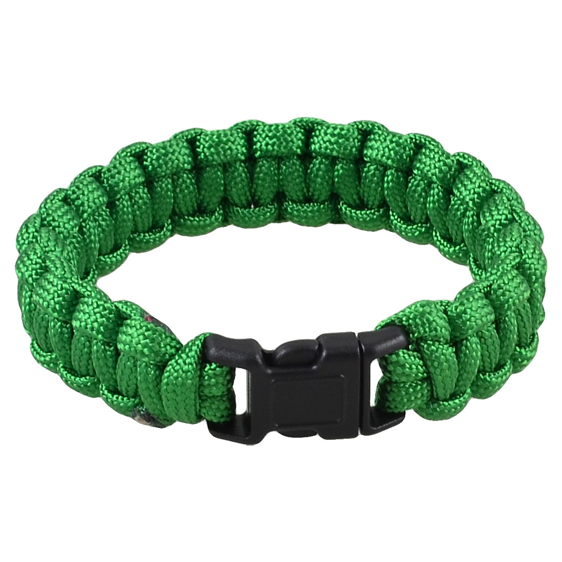 "9"" Girth Plastic Side Release Buckle Parachute Cord Survival Bracelet Dark Green 220Lbs"