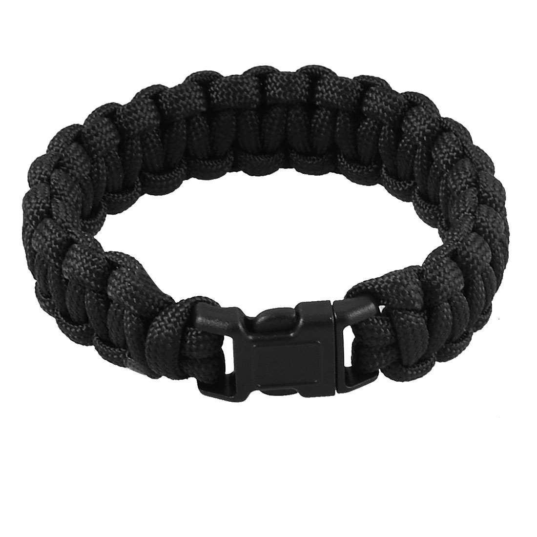 "9"" Girth Plastic Side Release Buckle Survival Bracelet Black 220Lbs"