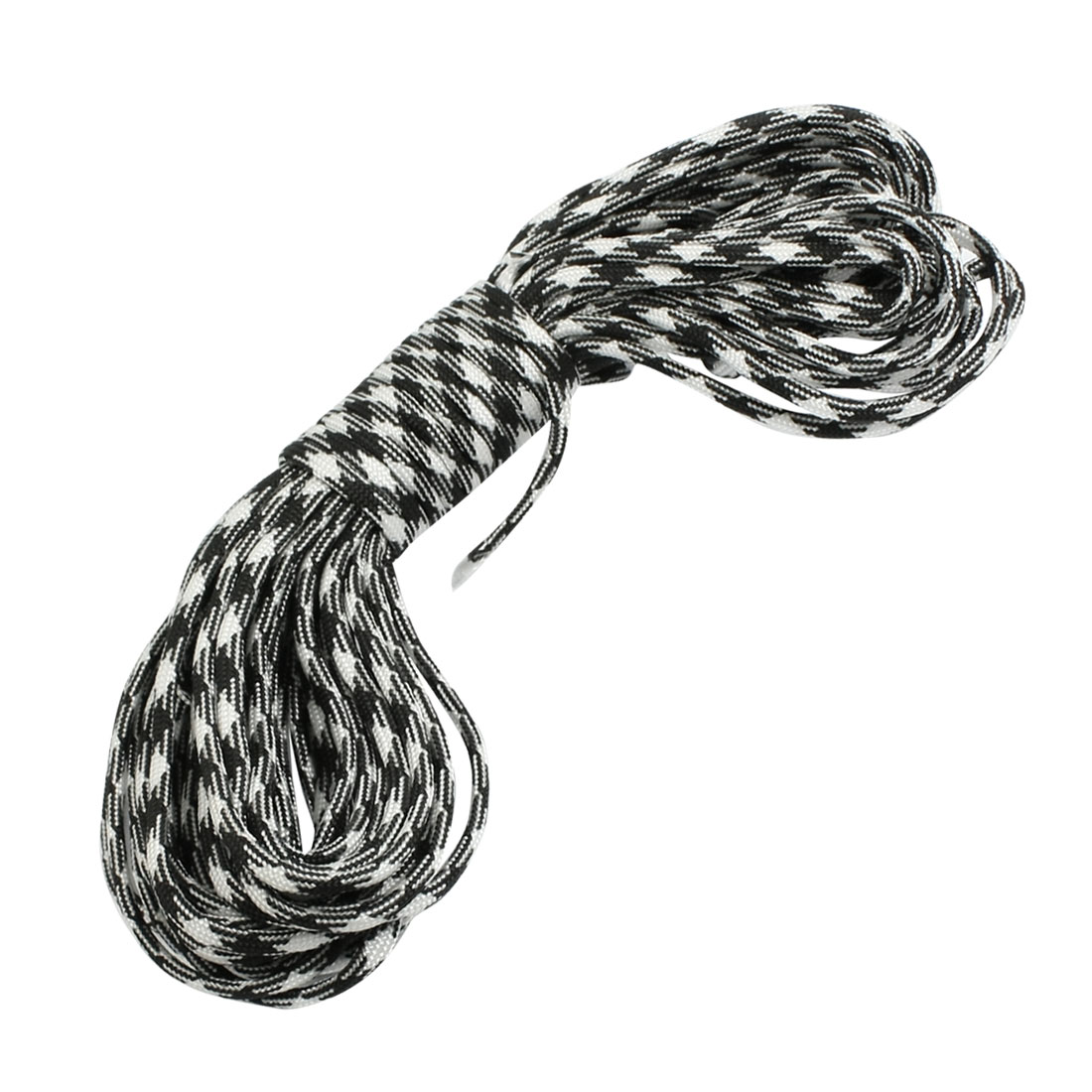 Emergency Rhombus Pattern Nylon Braided Cord Black White 10 Meter