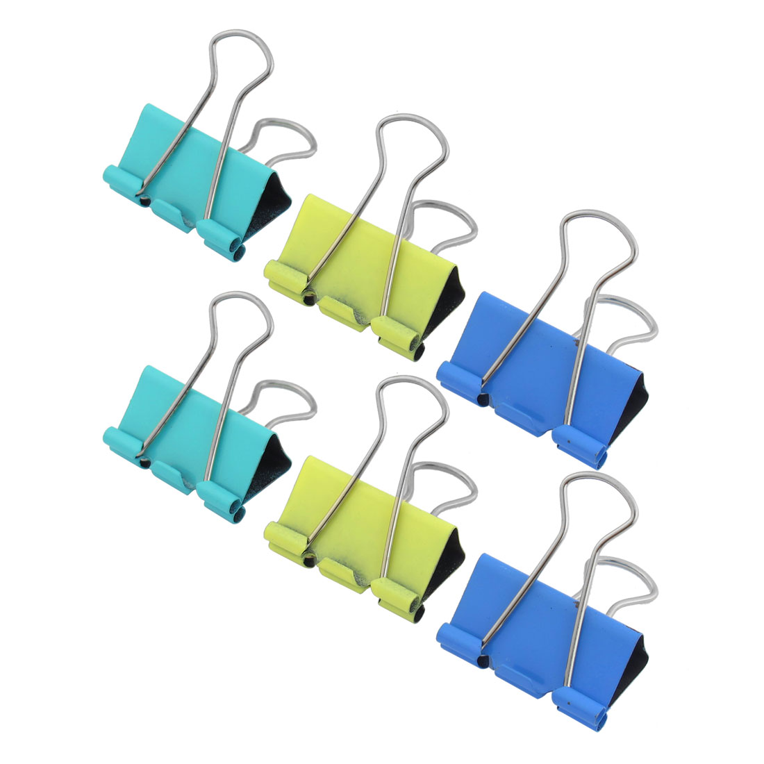 School Office Assorted Color Paper Document Metal Binder Clips 6 Pcs