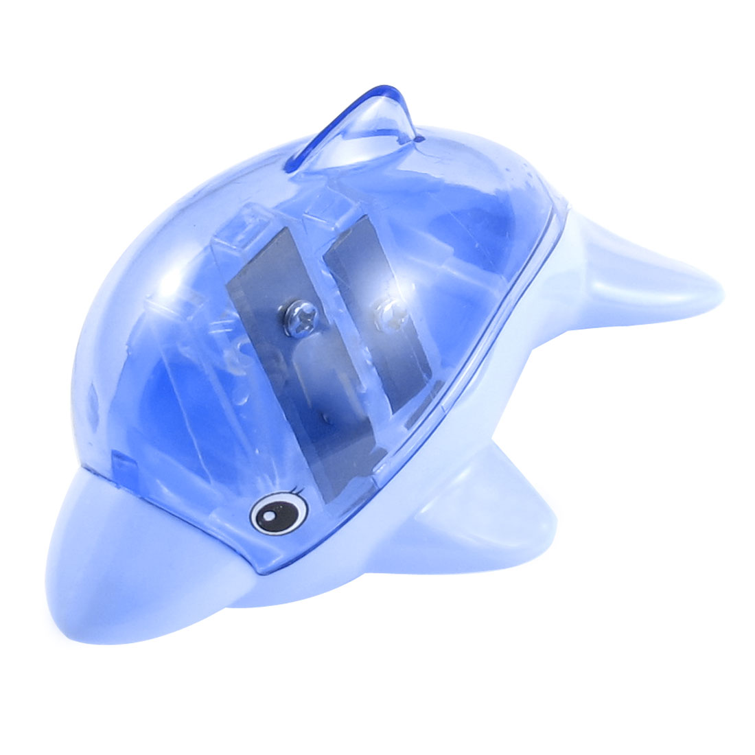 Dolphin Design Blue Plastic Shell Double Hole Pencil Sharpener for Students