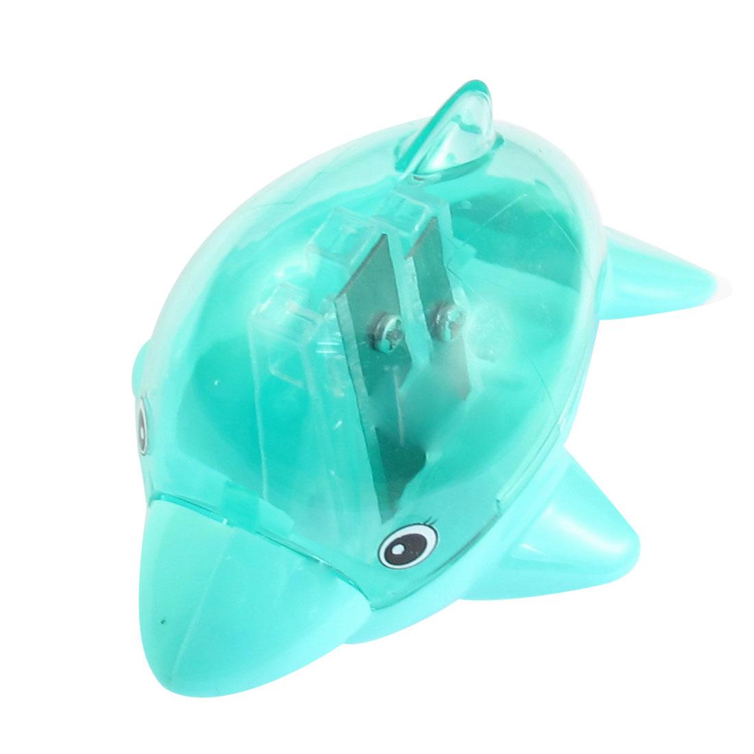 School Office Dolphin Design 2 Holes Green Plastic Shell Pencil Sharpener