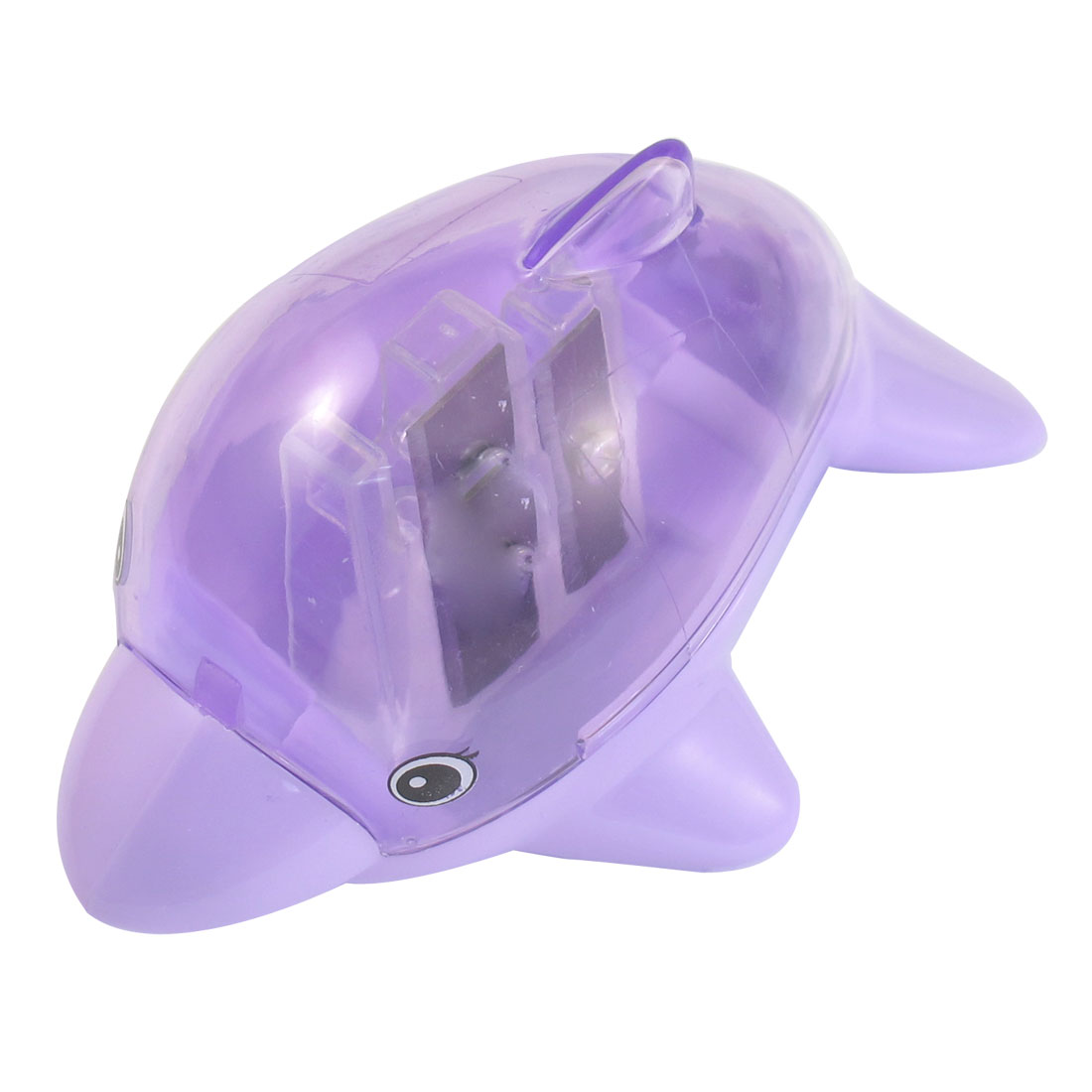 Dolphin Shaped Purple Plastic Shell Double Hole Pencil Sharpener for Students