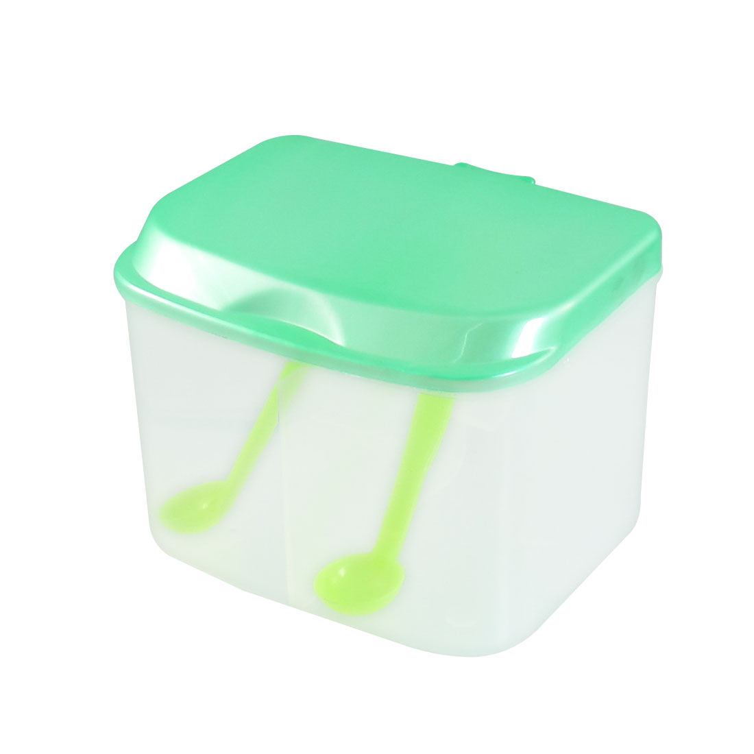 Kitchen Rectangular Green Plastic 2 Seasoning Box Spices Condiment Container Case