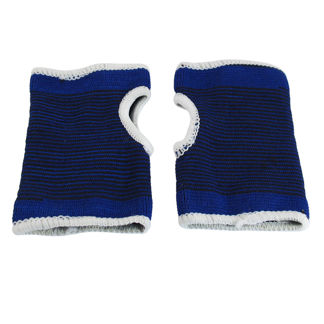 Pair Blue Black Stretch Striped Knitting Wrist Palm Protective Support