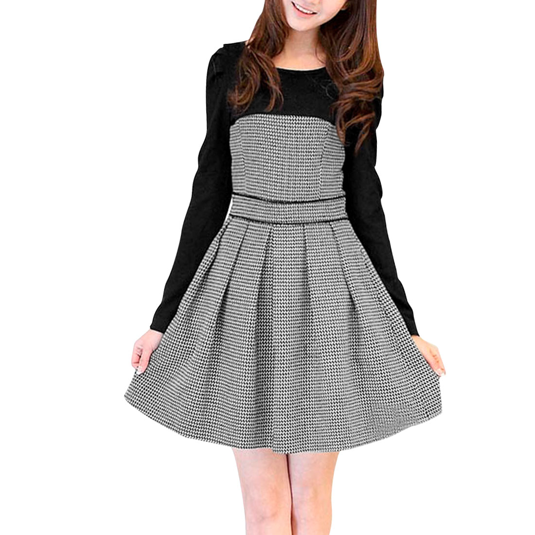 Ladies Black White Scoop Neck Houndstooth Pattern Panel Dress Xs