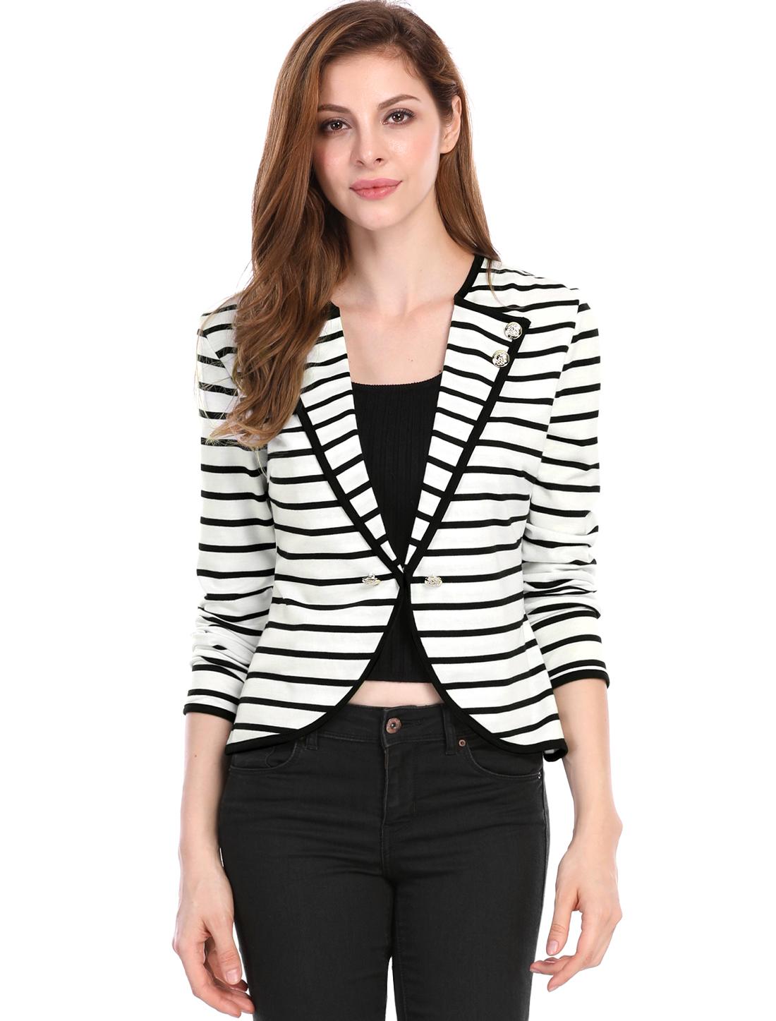 Ladies White Black Bracelet Sleeves Stripes Pattern Casual Blazer S