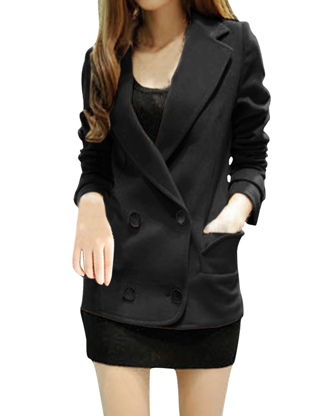 Ladies Black Double Breasted Casual With Lining Button-tab Cuff Overcoat Xs