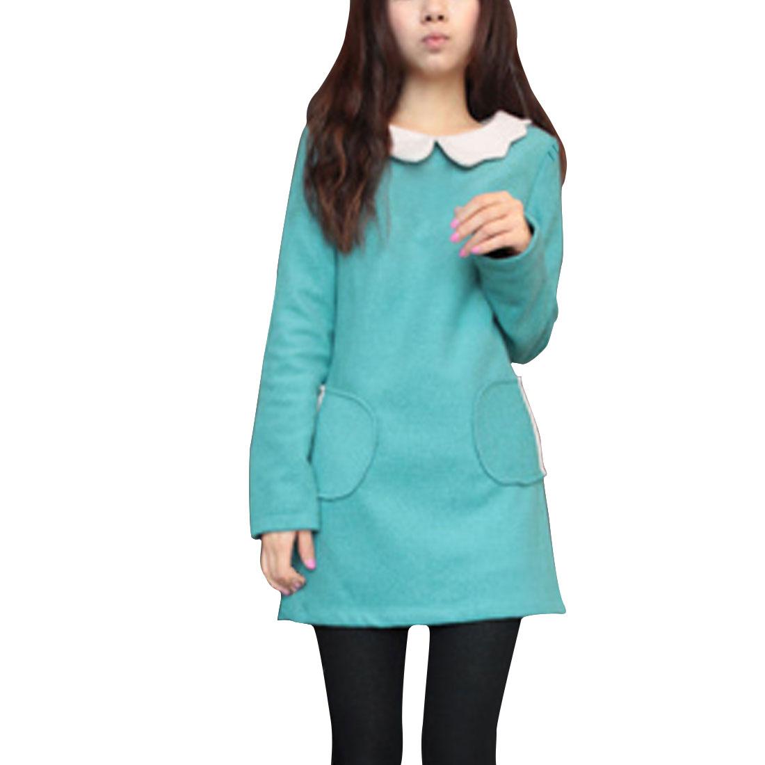 Ladies Lake Blue Puff Sleeves Casual Stylish Lining Tunic Shirt Xs