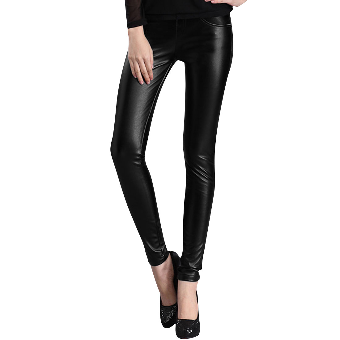 Ladies Black Natural Waist Belt Loop Detail Faux Leather Pants Xs