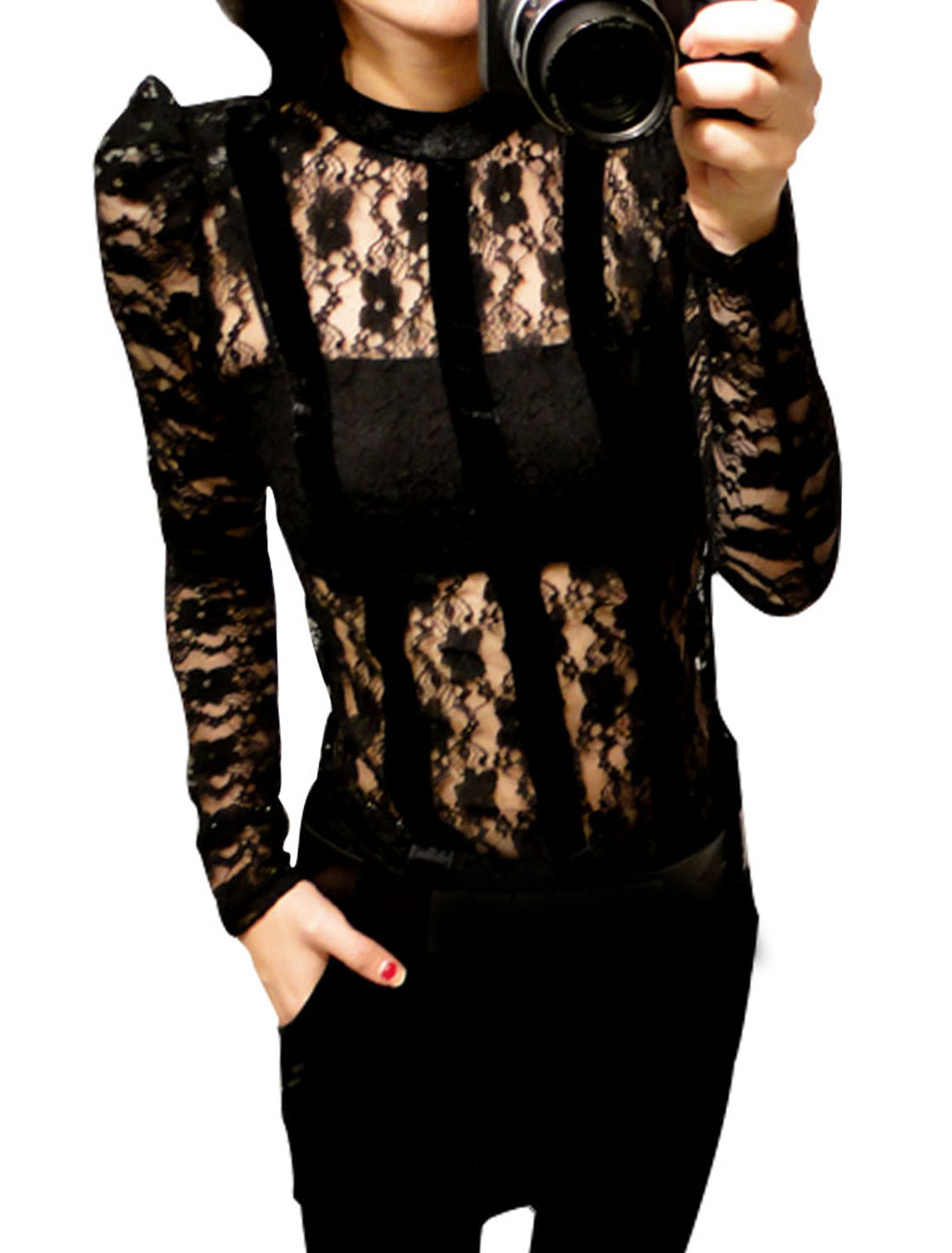 Women Back Hook Eye See-through Long Sleeve Flowers Design Chic Shirt Black XS
