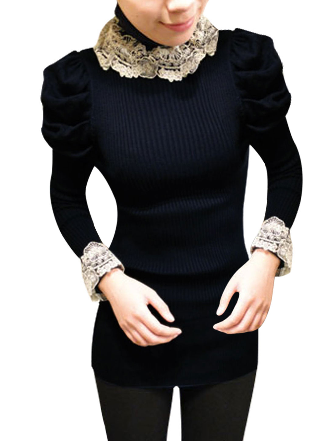 Women Dark Blue Long Sleeve Embellished Neckline Stretch Casual Blouse Xs