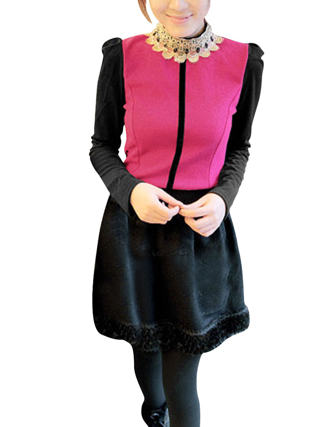 Ladies Fuchsia Black Puff Sleeves Casual Zip Closure Back Shirt XS