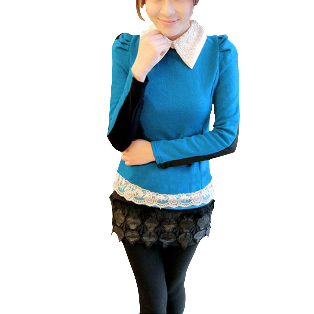 Ladies Teal Blue Black Embroidery Detail Pullover Stretchy Casual Shirt XS