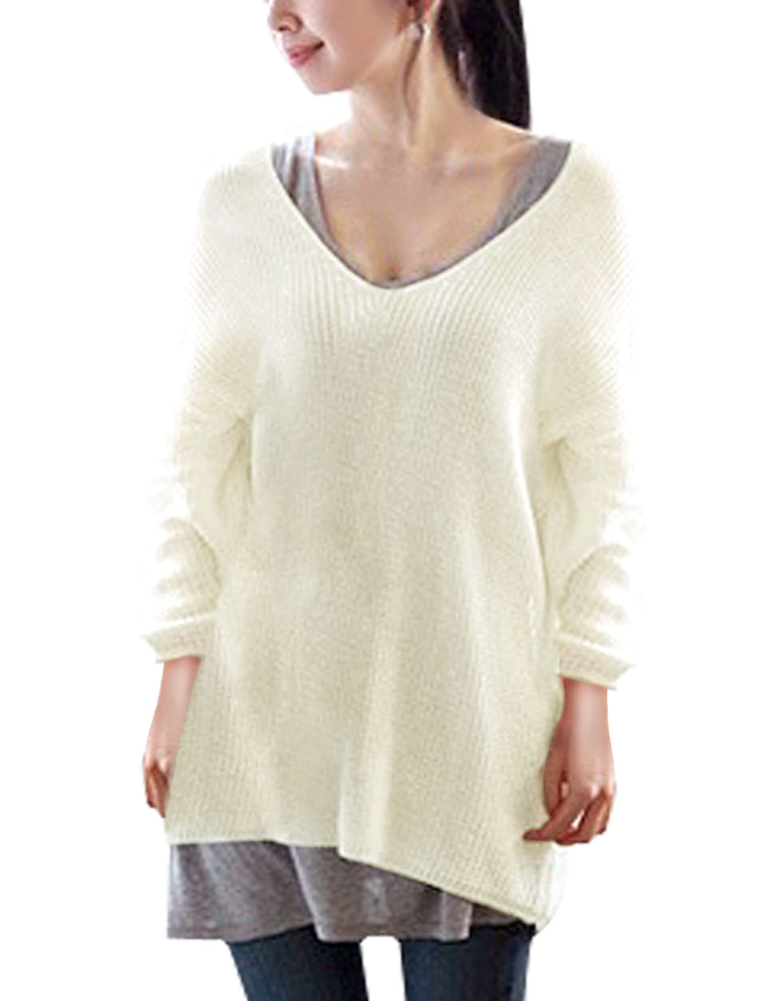 Ladies Deep V Neck Long Sleeves Loose Tunic Sweater Ivory L