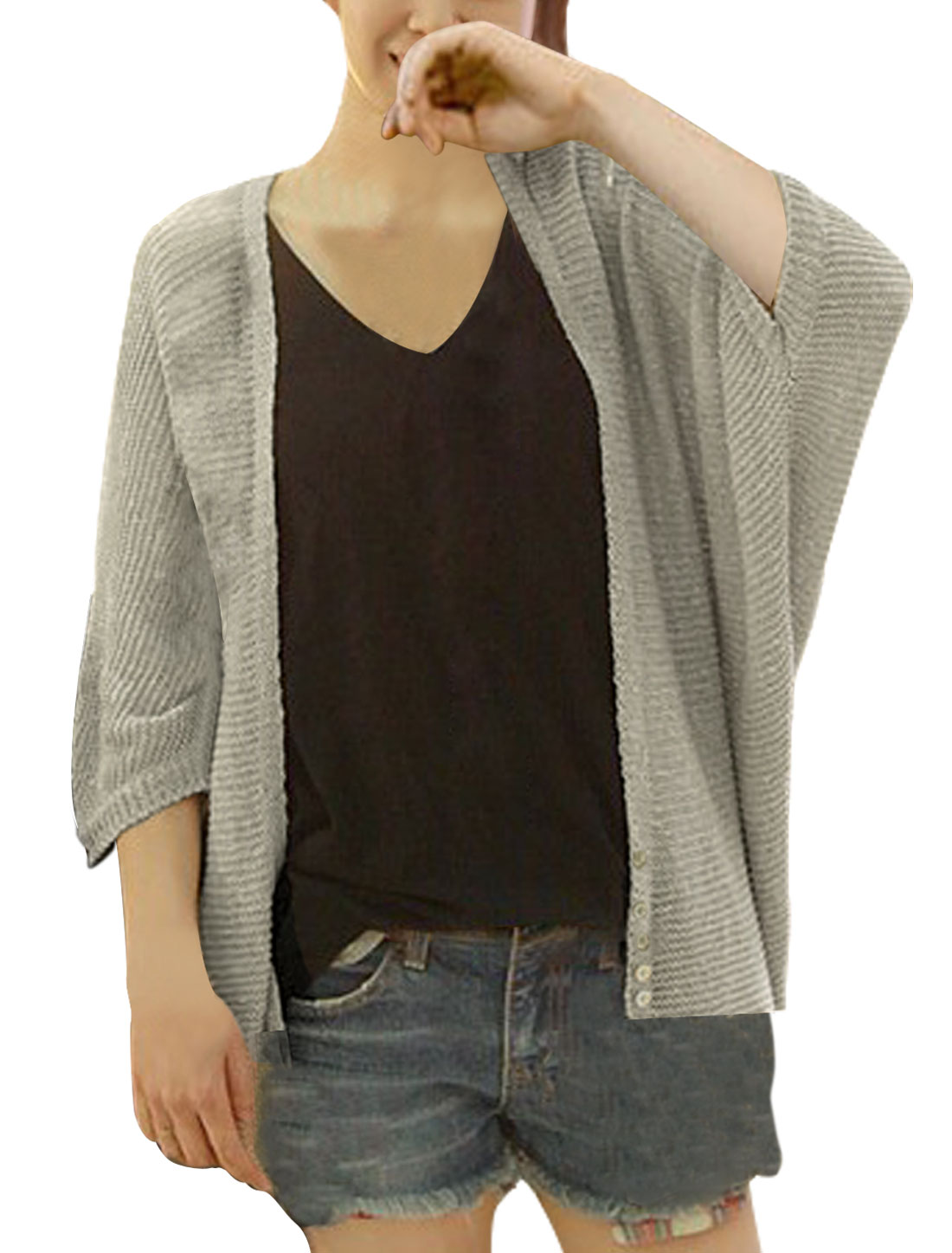 Women Cardigan Deep V Neck Warm Knitting Hem Stretch Batwing Winter Sweater Apricot M