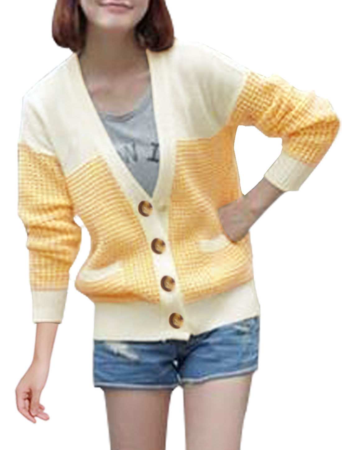 Women Cardigan Two Tone Pockets Knitting Stretch Sweater White Light Yellow L