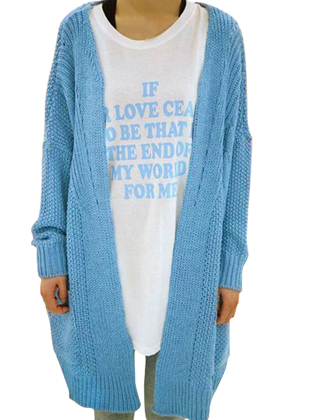 Women Cardigan Warm Front Opening Ribbed Knitting Stretch Winter Sweater Light Blue L