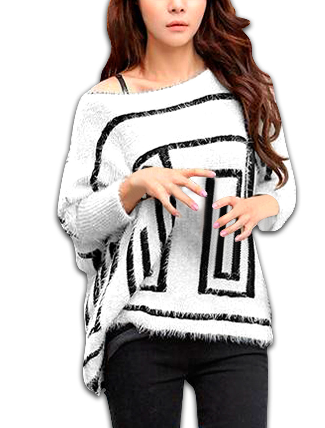 Ladies White Scoop Neck Casual Soft Novelty Pattern Warm Sweater M