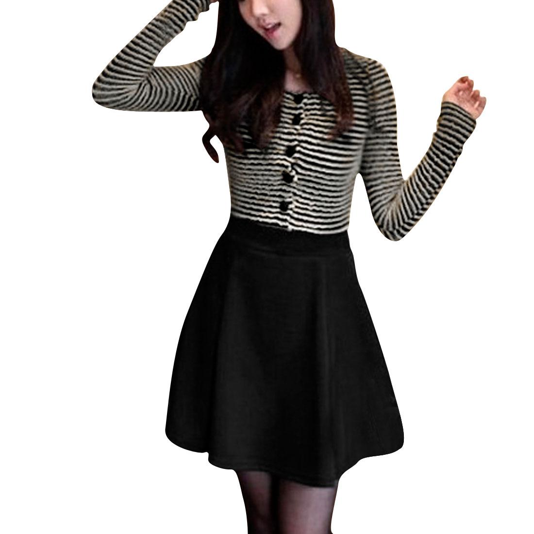Ladies Black Scoop Neck Wavy Trimed Gauze Panel Pullover Mini Dress Xs