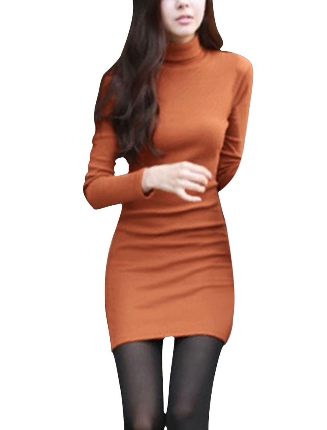 Ladies Orange Bracelet Sleeves Ribbing Detail Casual Mini Dress Xs