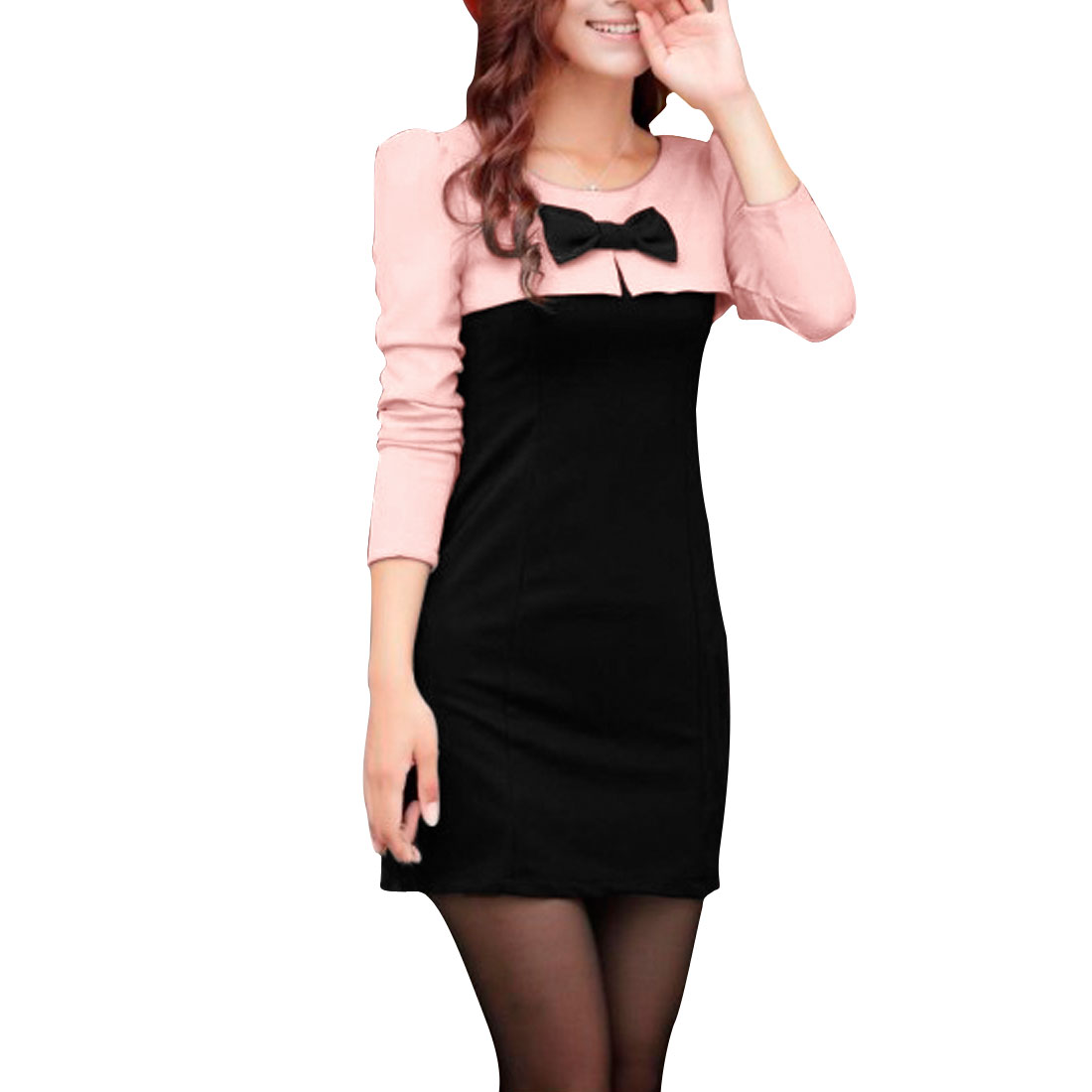 Ladies Pink Black Puff Sleeves Casual Stylish Autumn Mini Dress Xs